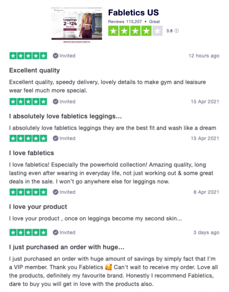 Customer Reviews for Fabletics