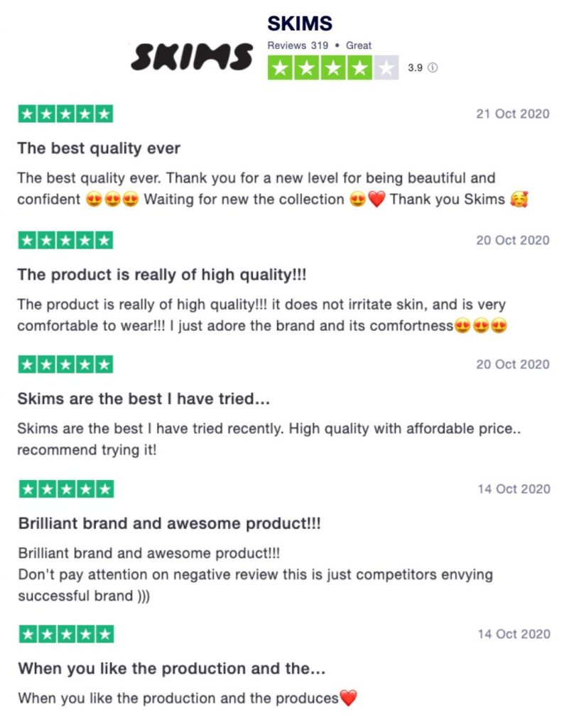 Customers' Reviews on Skims